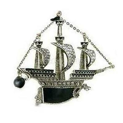 Vintage Sailing Boat Ship Pirate Vessel Dragon With Black Pearl Brooch Pin New