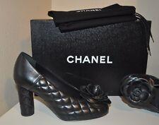 NIB $850+ CHANEL CC Logo Flower Quilted lambskin Leather Black Pump Heel Shoe 36