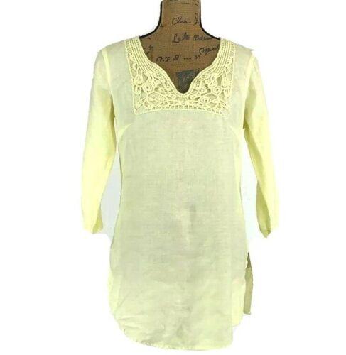 Malvin Linen 8 Med Tunic Top Long Shirt Pastel Yel