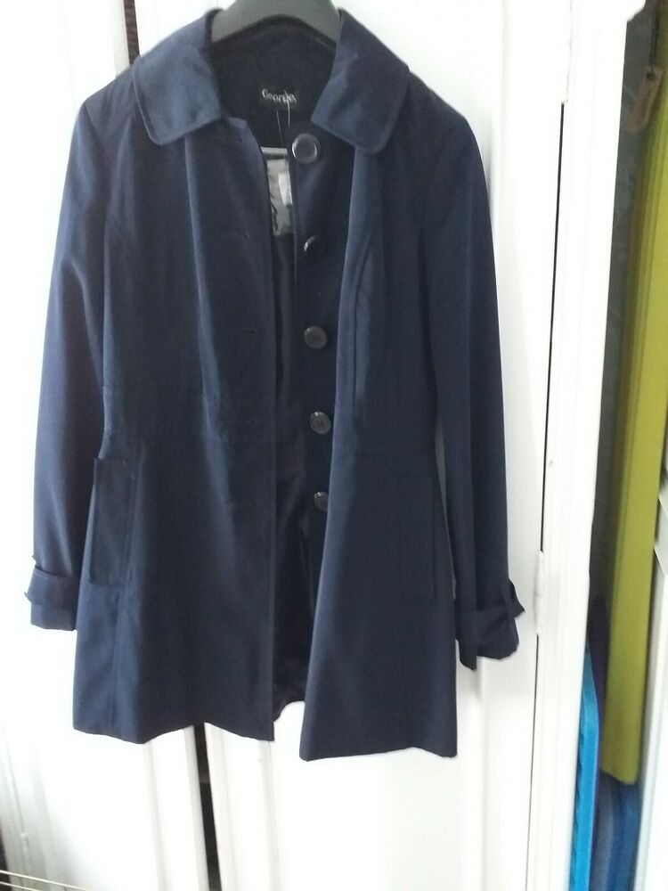 Bnwt Smart Bleu Marine Imperméable Trench-coat Mac Veste 10 Lavable Longueur 3/4