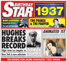 80th 1937 Birthday Gifts - 1937 Chart Hits Britpop CD Retro Year Greetings Card