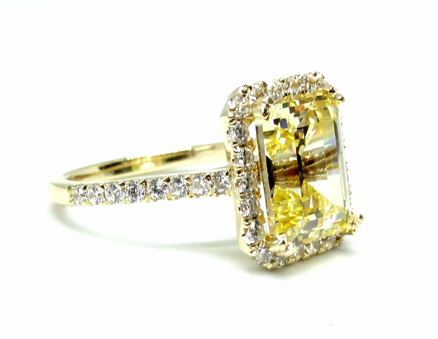 14k Yellow gold Engagement Ring W Simulated Diamond&Lab Created Yellow Sapphire