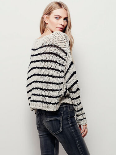 Pullover Sort Easy Hvid Nwt Free Over Striped 888374406143 128 Szm Sweater Beskåret People OWvTWxn0