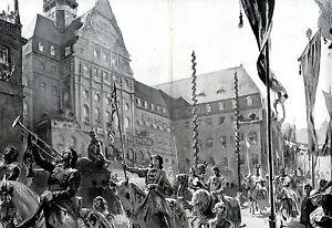 Tausenjahrfeier-Kassel-XL-Kunstdruck-1913-Cassel-Landgraf-Heinrich-I-1000-Jahre