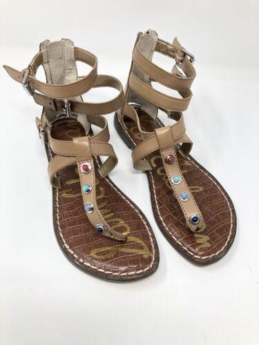 Sam Edelman Women/'s Size 5 Tan Genevive Studded Sandal Zip Back Strappy 1574