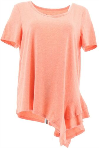AnyBody Cozy Knit Side Ruffle Tee Hthr Hot Coral M NEW A354722