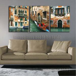 Vintage Venice Gondola By A Brick Wall Art Print Home