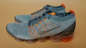Nike-Air-Vapormax-Flyknit-3-Aviator-Grey-Orange-Mens-Trainers-All-Sizes