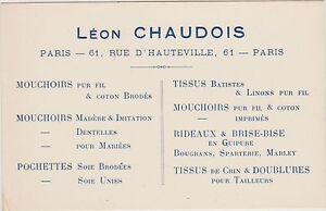 CARTE DE VISITE COMMERCIALE ANCIENNE LEON CHAUDOIS PARIS