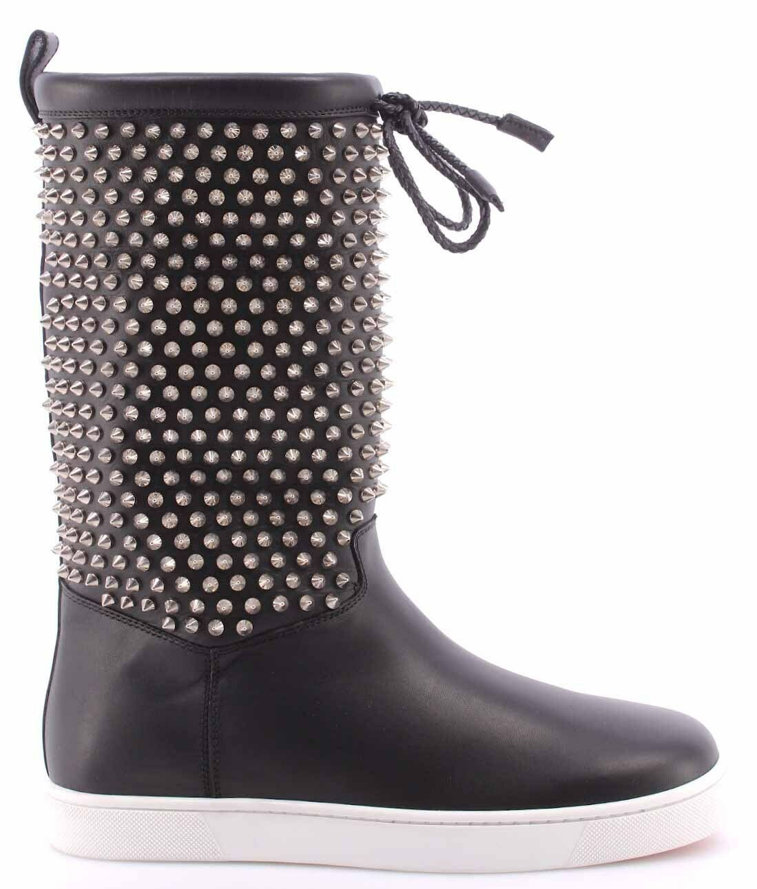 Women's Shoes Boots CHRISTIAN LOUBOUTIN Naza Flat Nappa Shearl Spikes Silver IT