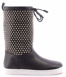 buy online 95fbc b4dab Details about Women's Shoes Boots CHRISTIAN LOUBOUTIN Naza Flat Nappa  Shearl Spikes Silver IT