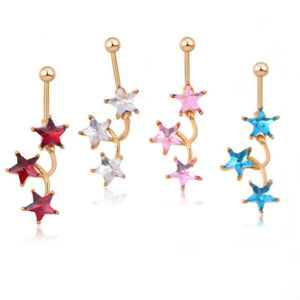 Simple-Zircon-Star-Navel-Belly-Ring-Button-Body-Piercing-Surgical-Steel-Jewelry
