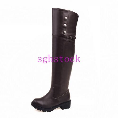 2016 Women Round toe PU Leather Over Knee High Knight Boots shoes Block Low Heel