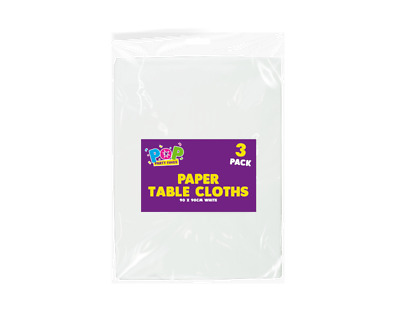 Pack of White Paper Table Cloths 90x90cm Large Disposable Party Banquet cover