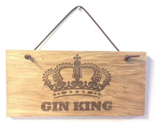 GIN KING Wooden Plaque Door Room Sign with Leather Hanger man cave alcohol