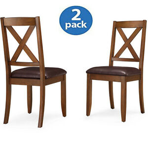 Image Is Loading Wood Dining Chairs Set Of 2 Leather Crossing