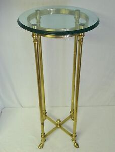 """vintage italy brass hoof foot 34"""" stand tall table 16"""" glass"""