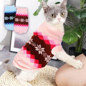 Details about Cat Sweater for Cats Hooded Small Dogs Kitten Jumper Knitted  Knitwear Clothes