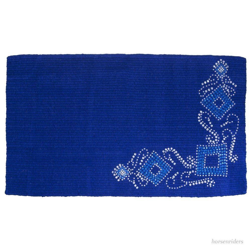 Western Manta-Azul Real Lana-Plateado Postes & Cristales - 34 x38
