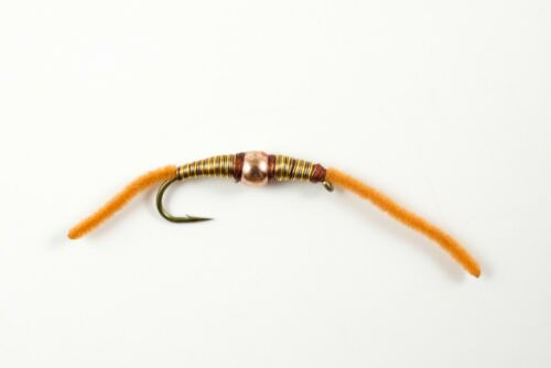 Depth Charge Brown Worm Fly Fishing Flies Bream, Catfish, Trout, Carp x 6