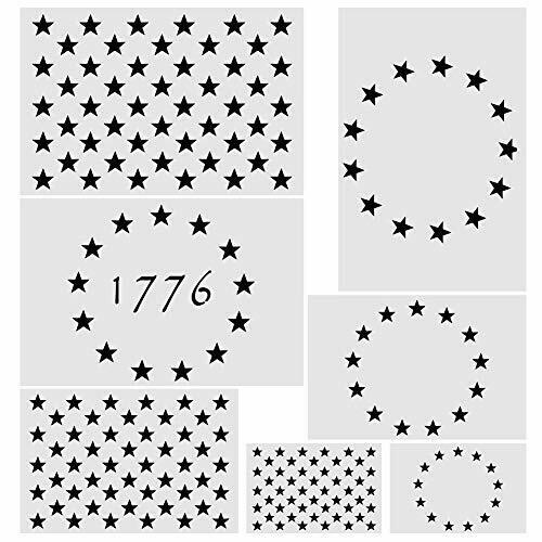 7pcs Plastic Stencil Template,3 Sizes American Flag 13//50 Star Stencil Te