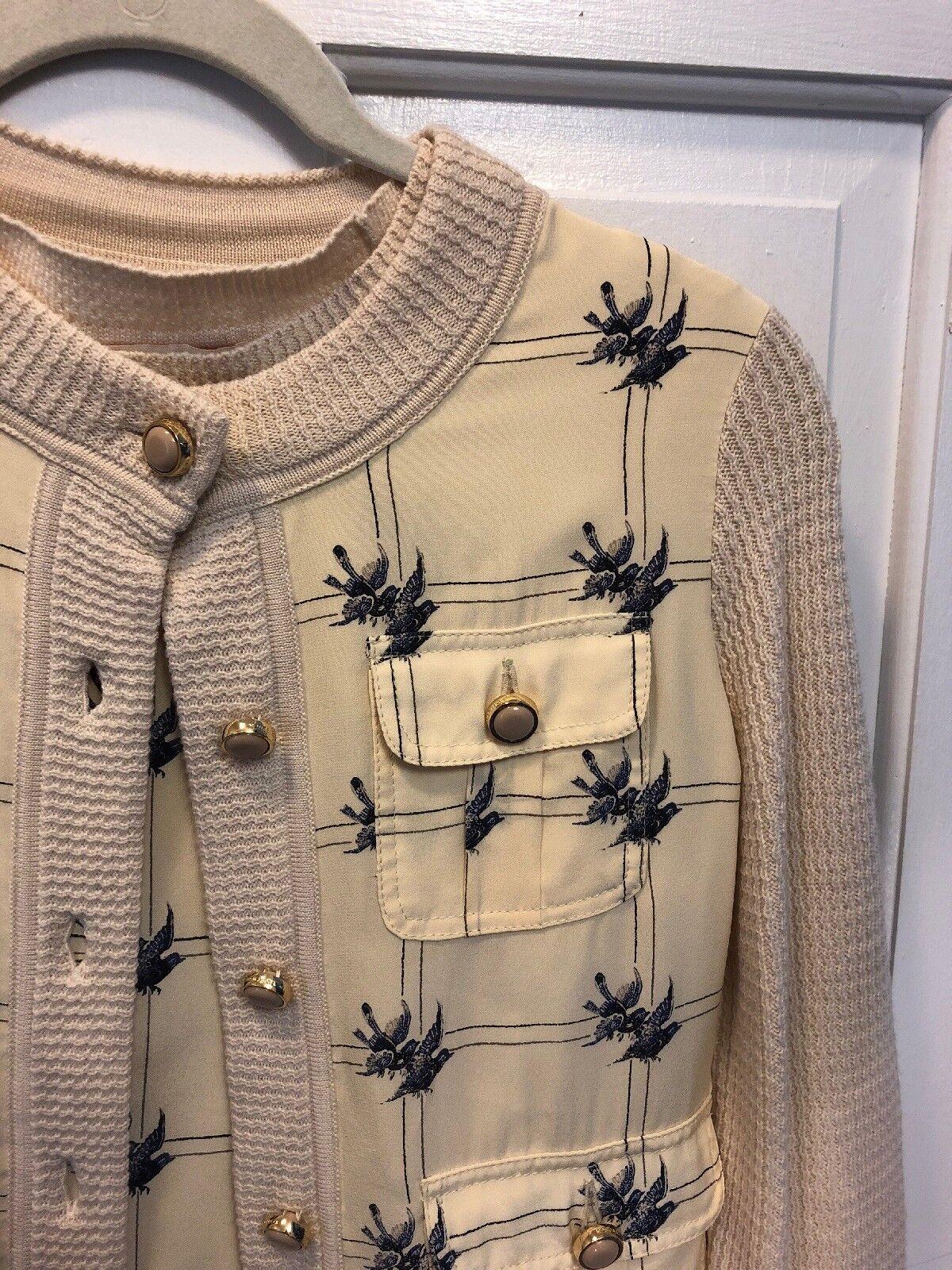 101. Euc Tory Burch Rare Cardigan Twin Set Birds Silk Wool Xs
