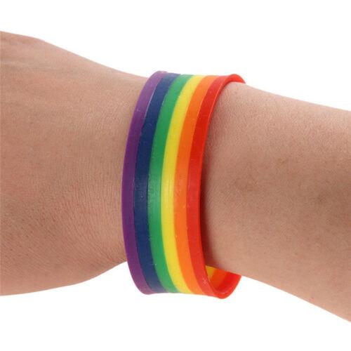 Moda Pulsera Pulsera de Silicona Orgullo Gay Arco Iris Mardi Gras Souvenir