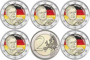 2-Euro-Helmut-Schmidt-2018-Deutschland-Satz-5-Muenzzeichen-A-D-F-G-J-in-Farbe