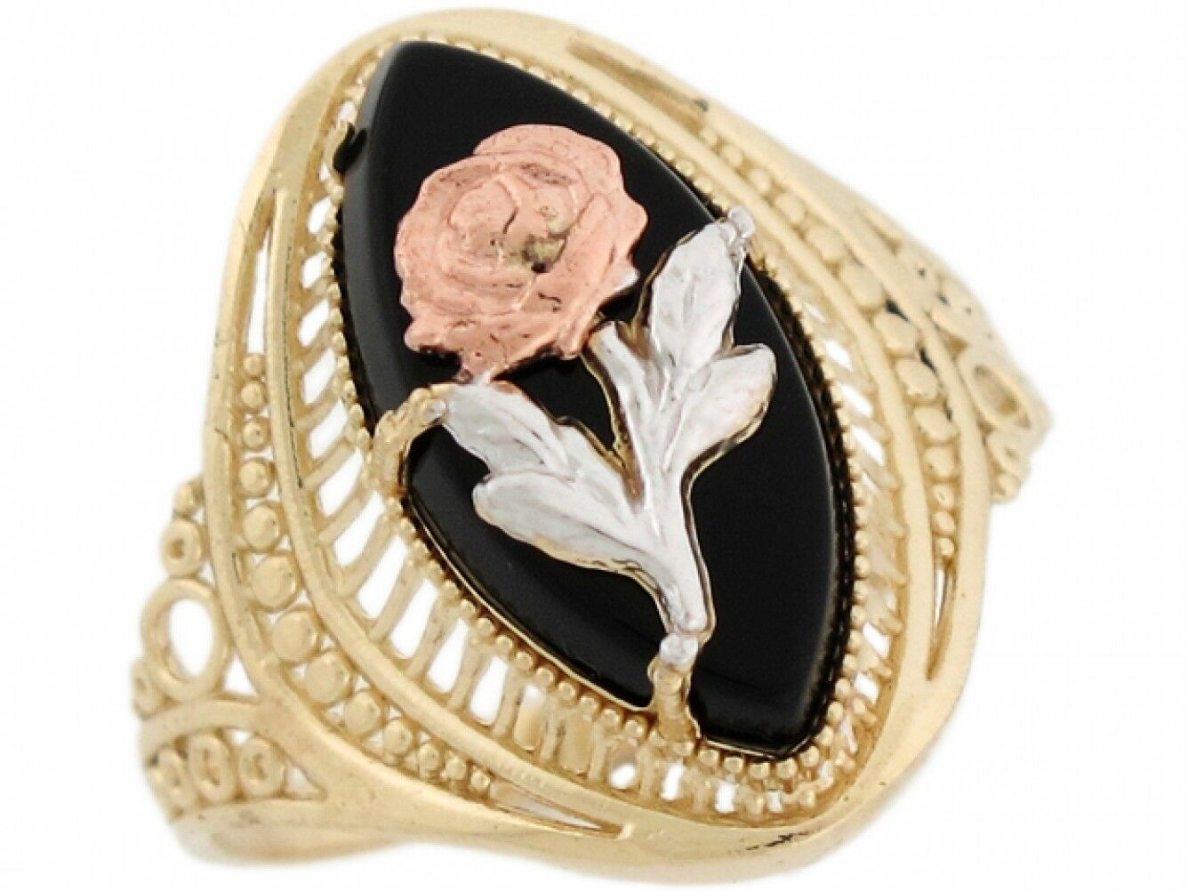 10k or 14k Tri color gold Marquise Cut Onyx pink Flower Filigree Womens Ring