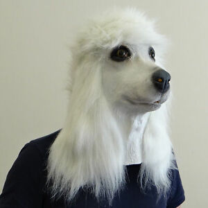 Maschera-di-cane-barboncino-BIANCO-in-lattice-con-testa-piena-di-animali