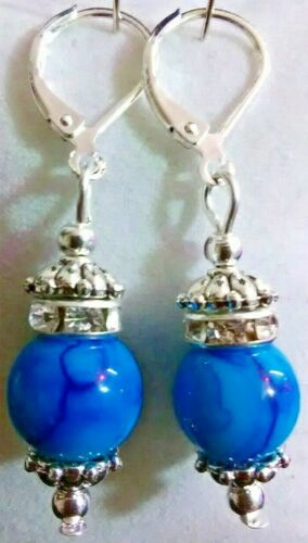 stamped Lever Back Earrings Elegant Blue Drop Dangling With 925