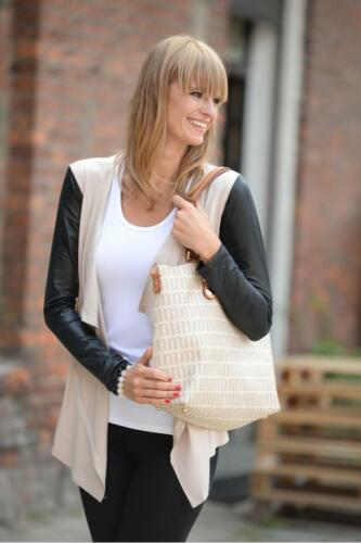 Ladies Cardigan Eco Leather Long Sleeves Jacket Blazer Shrug Sizes 8-18 8079