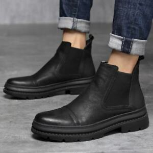 mens elastic chelsea casual comfort ankle boots party