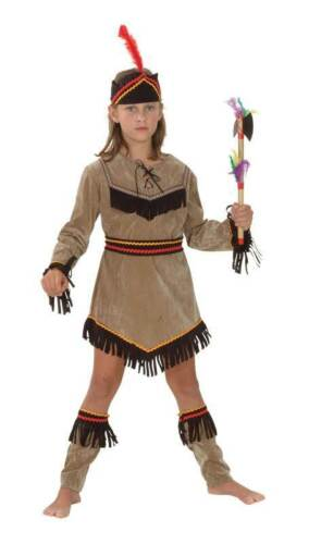 Indian Girl,Medium,6-8,Squaw.Chief,Childs Fancy Dress Costume Kids Book Week