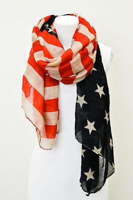 American Flag Vintage Scarf Wrap Star Stripe 4th Of July Red Blue Khaki 71""