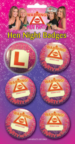 HEN PARTY HEN NIGHT 6 PIECE BADGE SET DIFFERENT PACK SIZES AVAILABLE