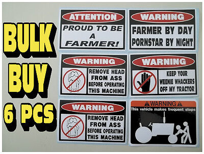 FUNNY FARMER TRUCK SEED TRACTOR PLOW HAY BALER TOOL BOX STICKERS DECAL GROUP 6PC