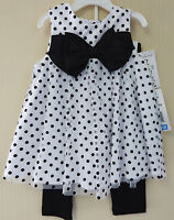 Rare Editions 18 24 Months Polka Dot Dress And Leggings Set Baby Girls Clothing