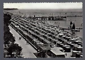 GRADO-GORIZIA-CARTOLINA-LA-SPIAGGIA-FG-VG-1958-ED-A-CADEL-FOTOCELERE