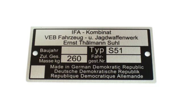 Placa Identificadora Pas. para simson S51 E C B 260kg VEB Plata Negro Bruta