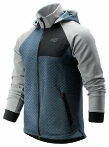 New-Balance-Men-039-s-NB-Heat-Loft-Full-Zip-Hooded-Jacket-Grey