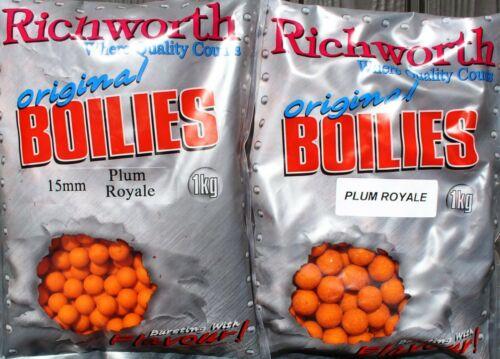 Ready Mades 20 mm Pflaumen-Boilie Richworth 1kg Boilies Plum Royale 15