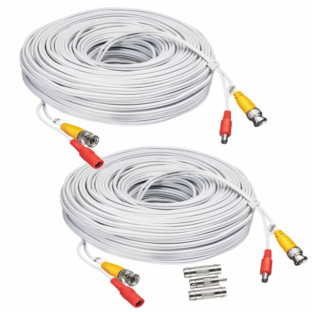 hot product superior quality official store 2X25ft Camara Cable Video Wire Cord de seguridad para CCTV DVR Blanco NEW