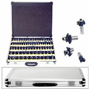 New-80pc-1-2-034-Shank-Tungsten-Carbide-Router-Bit-Set-w-CASE-2-Blade-3-Blade