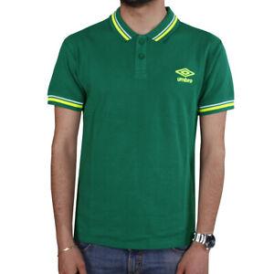 Polo-Uomo-UMBRO-Sport-Cotone-Maniche-Corte-Colletto-T-Shirt-Tinta-unita-Verde