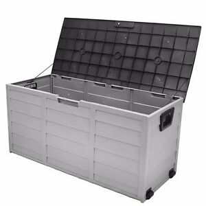 All Weather Uv Pool Deck Box Storage Shed Bin Backyard