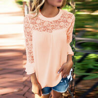 Women Ladies 3/4 Sleeve Frill Tops Ladies Chiffon Lace Shirt Blouse T Shirt S-XL