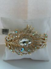 LARGE PEACOCK FEATHER CRYSTAL BRACELET. ( TJC ).