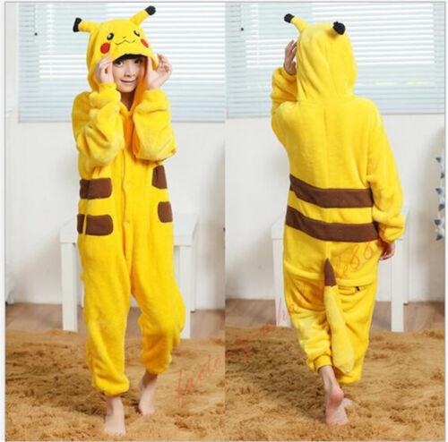 Kids Adult Pajamas Anime Cosplay Costume Dress Pikachu Pokemon Go Sleepwear Gift