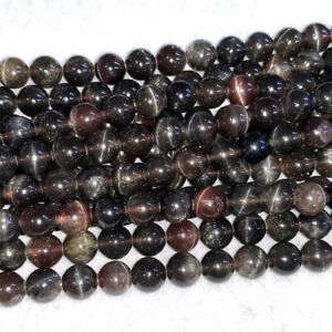 Real Genuine Natural Brown Red Chrysoberyl Andalusite Cats eye Round Loose Beads